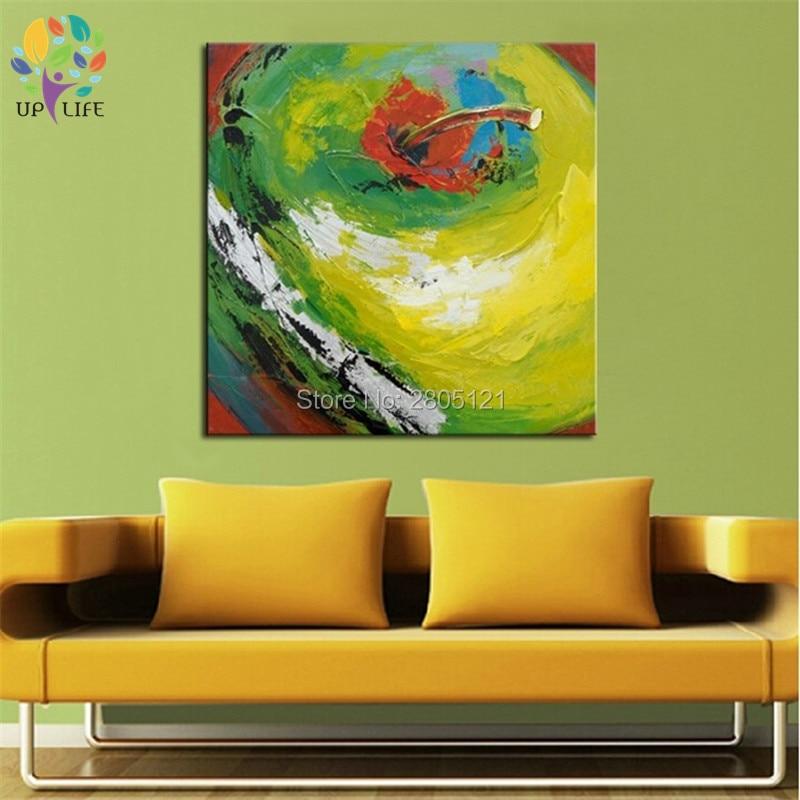 100% ručně malované červené jablko plátno umění zelené jablko zátiší olejomalba jídelna kuchyně decoraiton obrázek