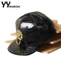 High Quality Faux Leather Snapback Cap For Children Golden Metal Lion Baseball Caps Kids Flat Winter
