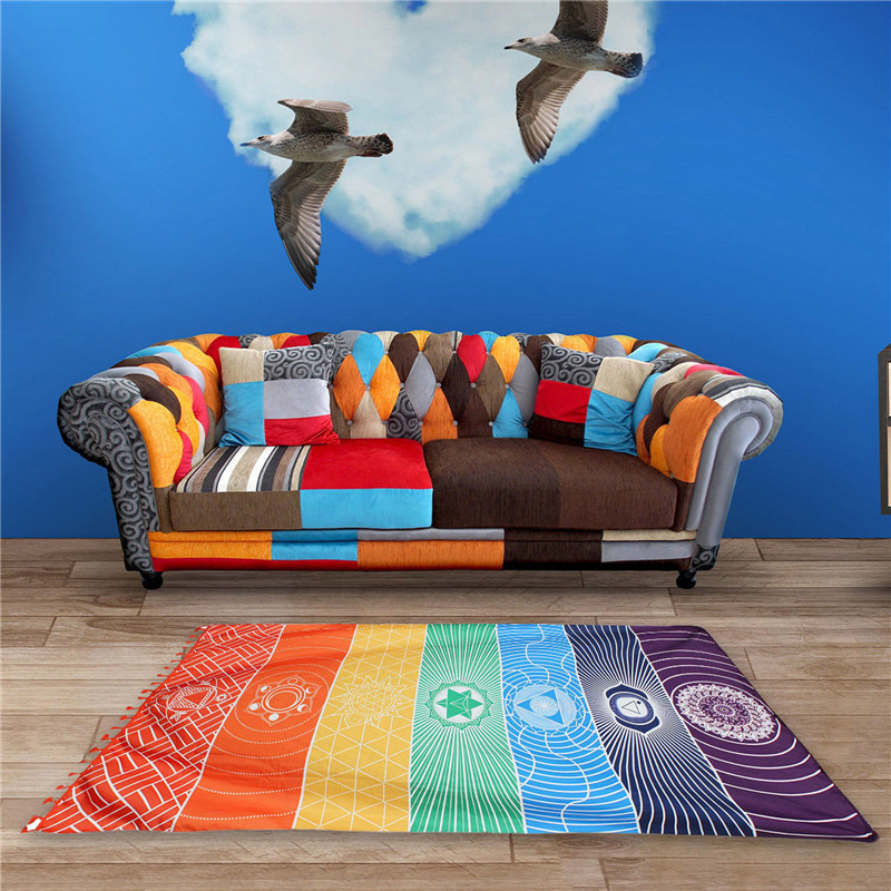 Dropship! Single Rainbow Chakra Tapestry Towel Carpet Mandala Boho Stripes Travel Yoga Mat Outdoor Mats 150x70cm/100x45cm 13