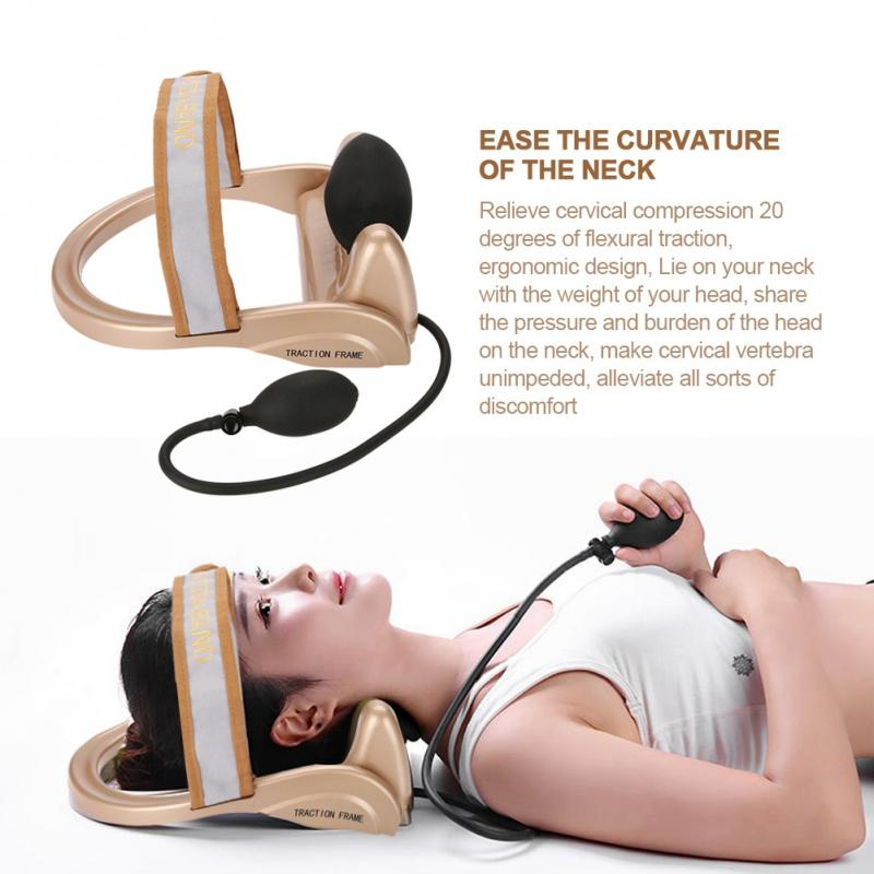 Neck Cervical Traction Device Vertebra Tractor Pneumatic Pump Neck Spine Posture Traction Headache Head Neck Muscle Pain Relief new neck cervical traction device inflatable collar head back shoulder neck pain headache health care massage device