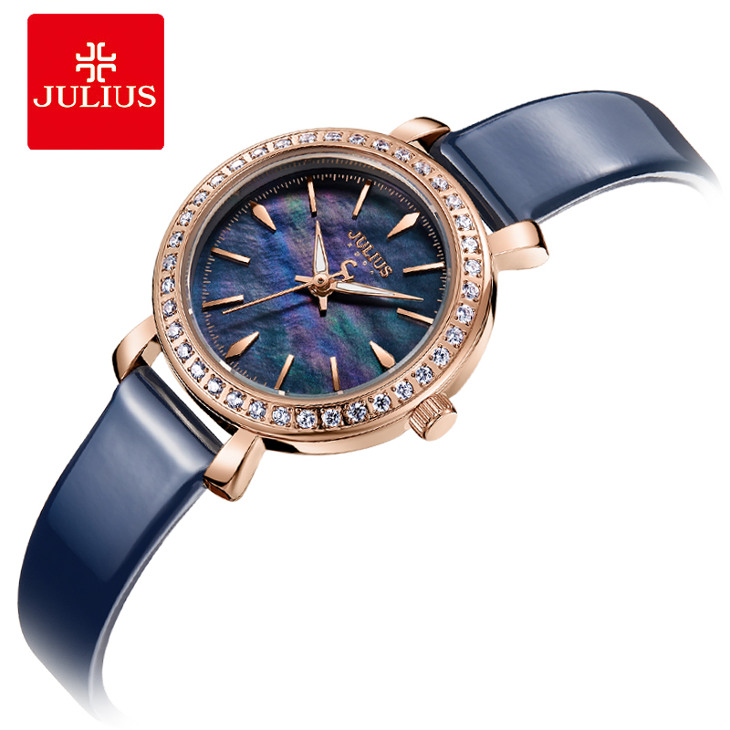 Julius New Designer Watch Korean Stylish Crystal Watch For Women Blue Modern Dress Clock Japan Made Movement Montre Hour JA-1079 парфюмерный набор bvlgari rose goldea п вода 90 мл лосьон тела 75 мл гель душа 75 мл косметичка