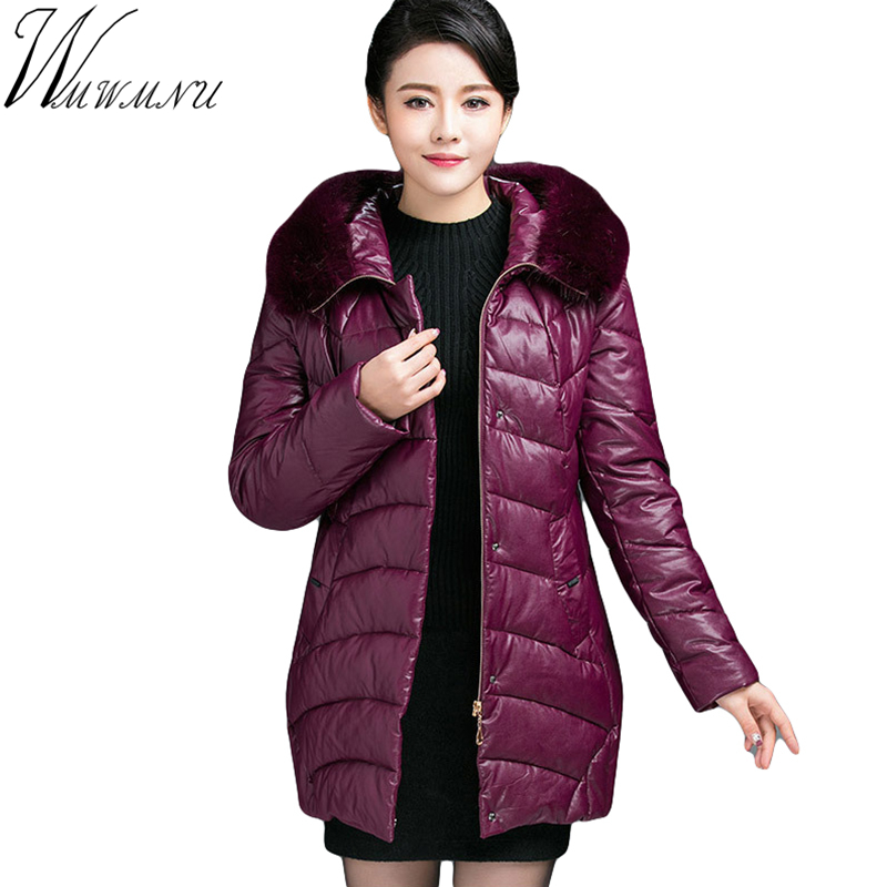 Wmwmnu Winter Jacket Women Cotton mid Jacket Fur collar plus size Padded Coat Outwear High Quality Warm PU lether Parka ss351f high quality new winter jacket parka women winter coat women warm outwear thick cotton padded short jackets coat plus size 5l41