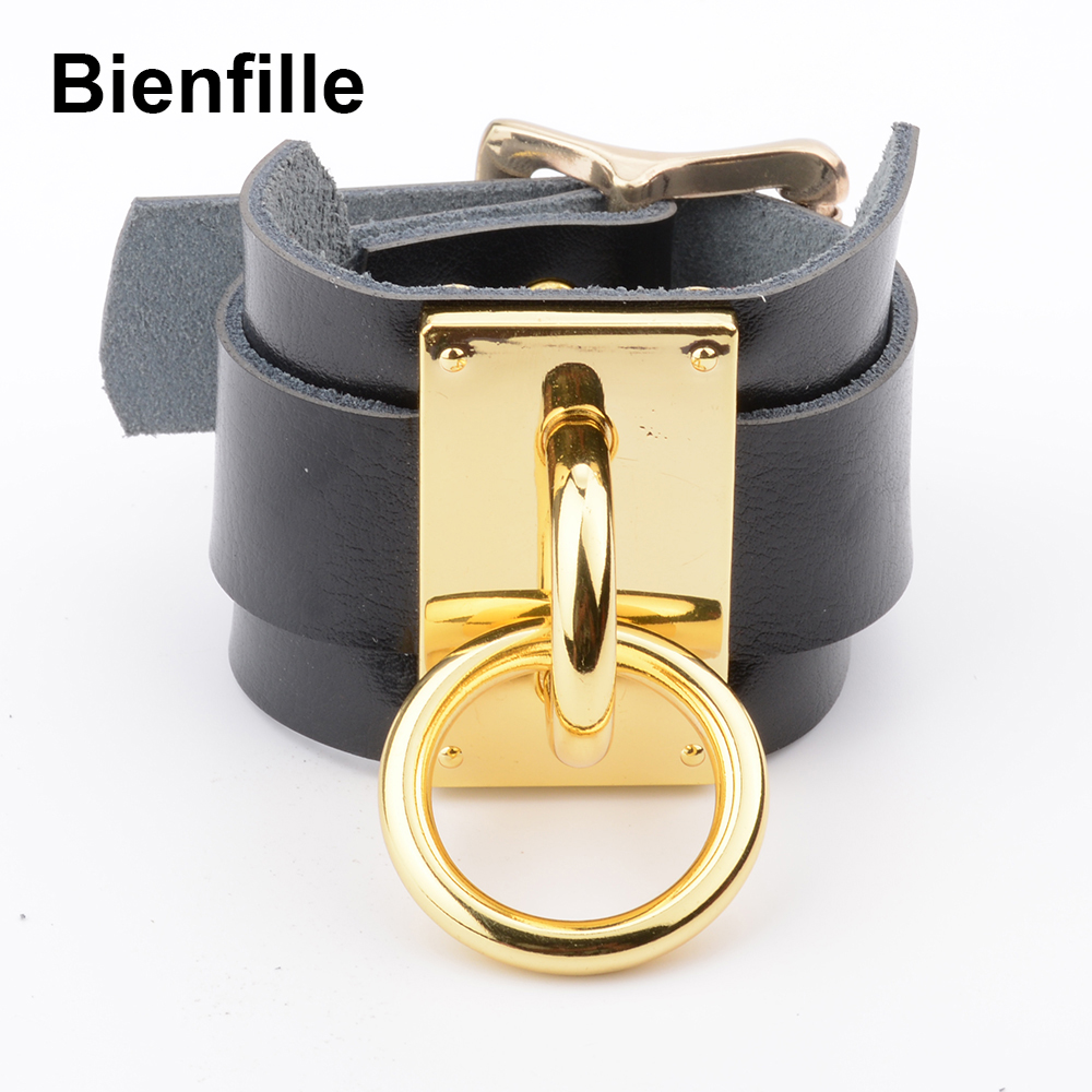 Designed Handmade Oversized Double Layer Leather Band Cover Wrist Bracelet Bondage BDSM Silver Gold Metal O Round Gothic Bangles