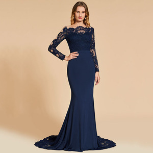 Image 3 - Dressv אלגנטי ארוך שרוולים שמלת ערב מסולסל קצה צוואר חצוצרת תחרה מסיבת חתונה רשמי שמלת ערב שמלות אישית