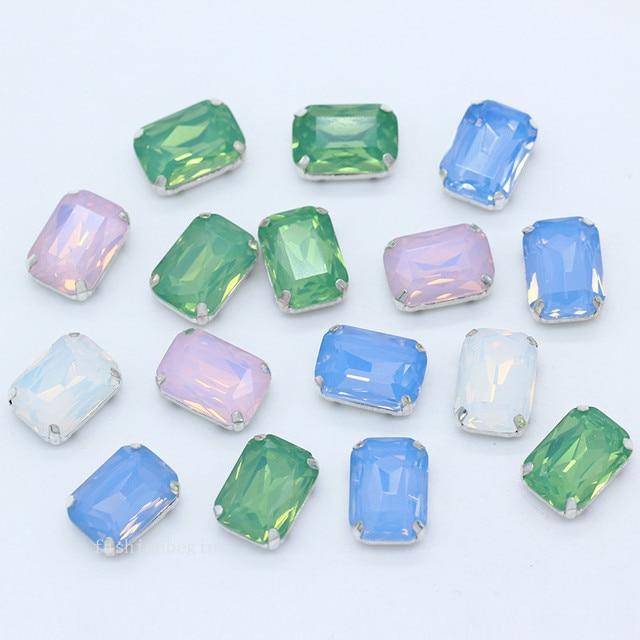 12p 8x10 10x14 13x18mm octagon white green blue pink opal sew on costume  Dress crystal glass rhinestones jewels silver base Gems 3b8670f1e4f2