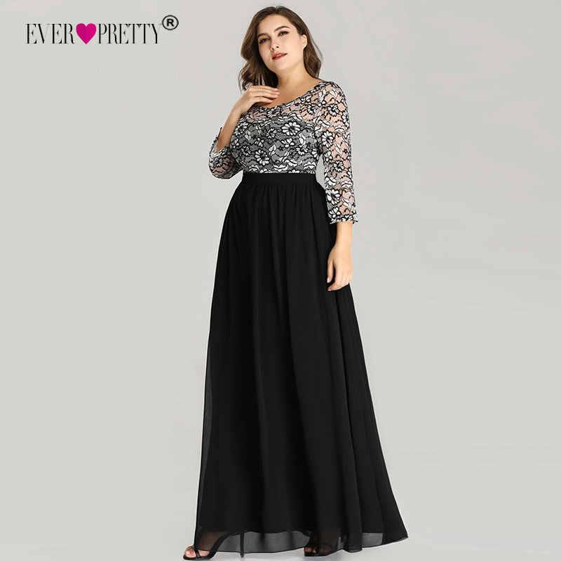 222172b7d1d Ever Pretty Большие размеры Вечерние платья Длинные 2018 кружево с длинным  рукавом шифон мать невесты платье