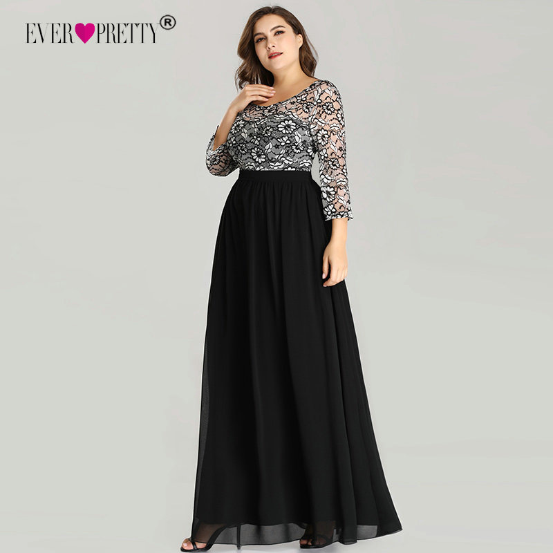 Ever Pretty Plus Size Evening Dresses Long 2020 Lace Long Sleeve Chiffon Mother Of The Bride Dress Winter Autumn Evening Gowns
