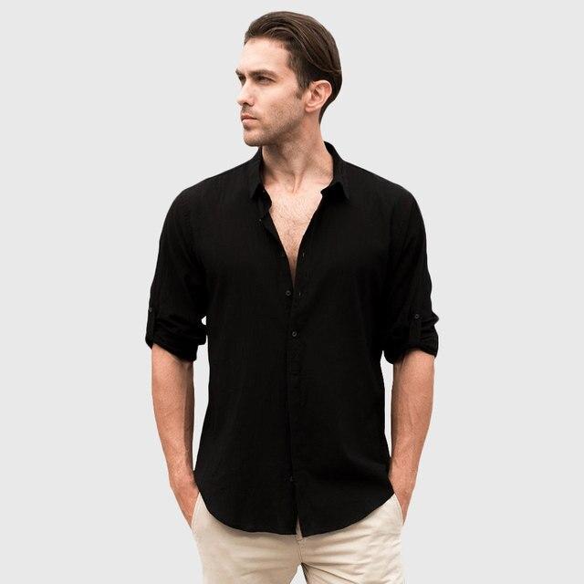 Male Linen Shirt Men Casual Shirt Cotton Long Sleeve Style White ...