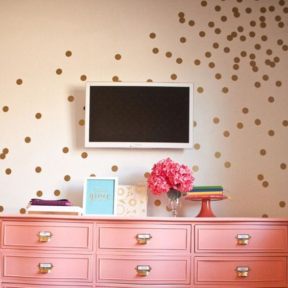 Golden Polka Dots Wall Sticker IWall Sticker Baby Nursery Gold Dots Wall  Decal Silver Dots Removable Part 71