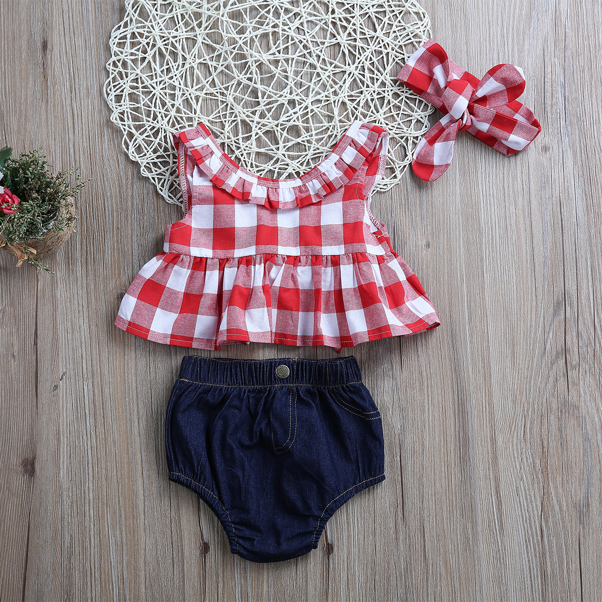Tops-Sleeveless-Plaid-T-Shirts-Jeans-Shorts-Headband-Kids-Clothing-Outfits-Infant-Kids-Baby-Girls-Clothes-Sets-Outfit-Sleeveless-2