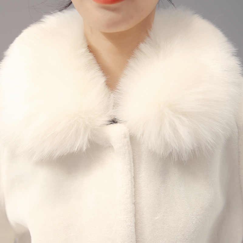 OLGITUM CHẤT LƯỢNG CAO Lông Faux Coat Chồn Tóc Rex Tóc Cape Full Áo Khoác Màu Trắng Khoác Giả Rabbit Faux Fox Collar FF032