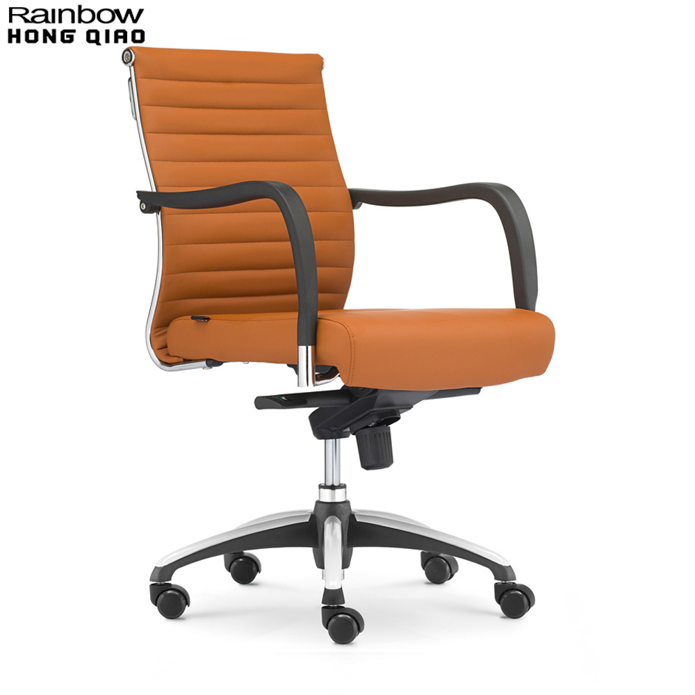 Tan leather office chair - Office Chair Swivel Computer Chair Mid Back Armchair Fixed Arms Stylish Ribbed Upholstered
