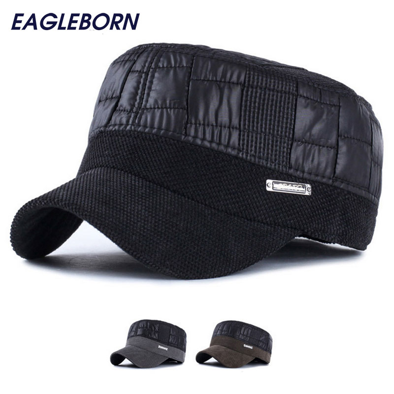 New Winter keep warm hats gorras men winter caps flat top baseball caps with earflaps snapback chapeu new high quality warm winter baseball cap men brand snapback black solid bone baseball mens winter hats ear flaps free sipping