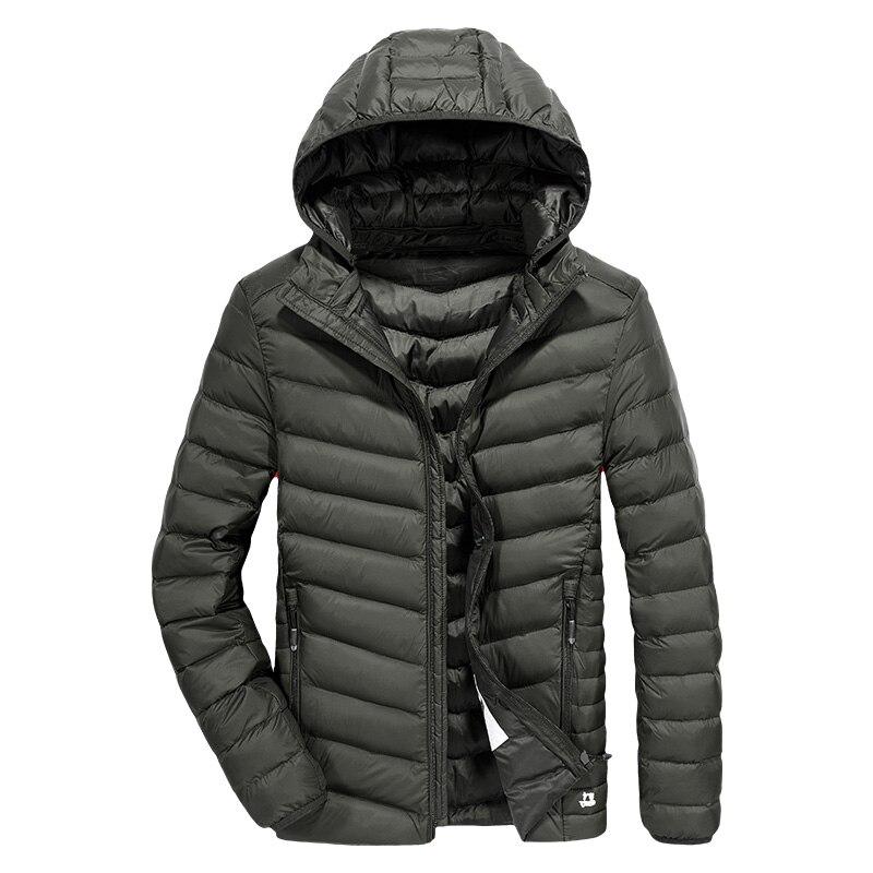New Arrival Ultra Thin Down Jacket Men Hat Detachable Casual Men's Winter Jacket Ultra-light White Duck Down Coat Men