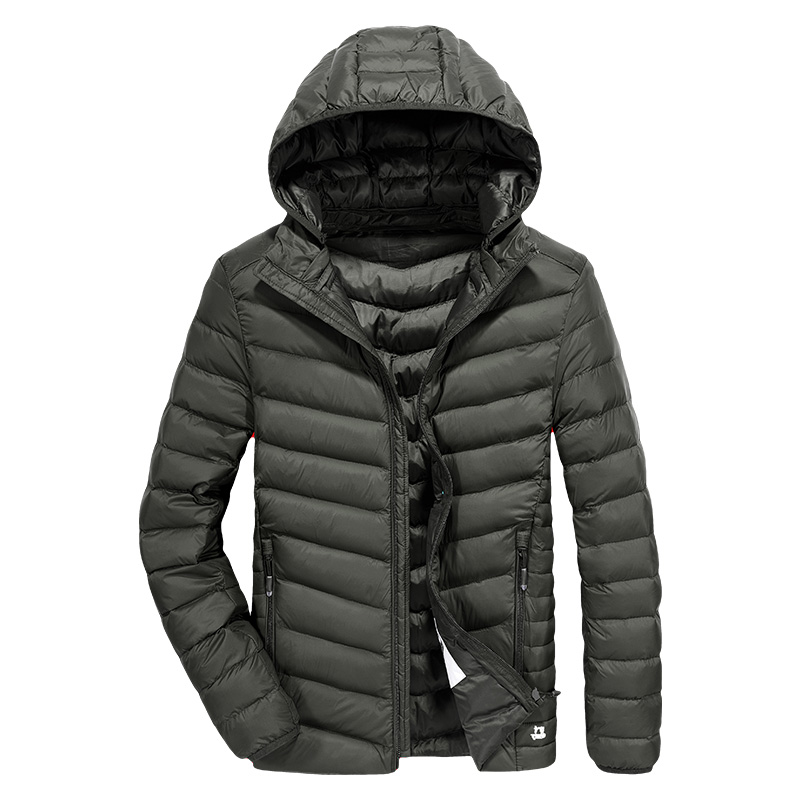 New arrival ultra thin   down   jacket men hat detachable casual men's winter jacket ultra-light white duck   down     coat   men