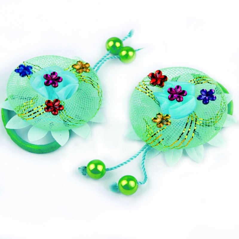 เด็กอุปกรณ์ตกแต่งผมS Crunchieจัดแต่งทรงผมหัวสวมใส่วงผมที่ยืดหยุ่นดอกไม้เหงือกผู้ถือเชือกได้อย่างรวดเร็วและง่ายต่อการใช้
