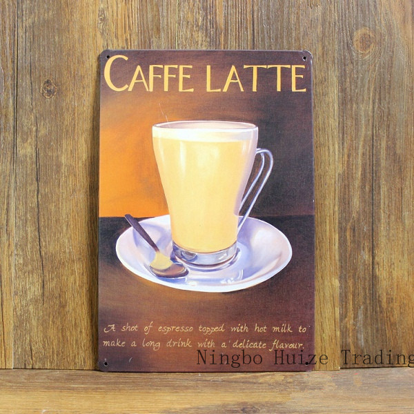 Vintage Metal Sign Retro Metal Painting Art Poster Plaque 20 30cm Caffe Latte Coffee Wall Sticker Home Decor Cafe Bar Wall Decor