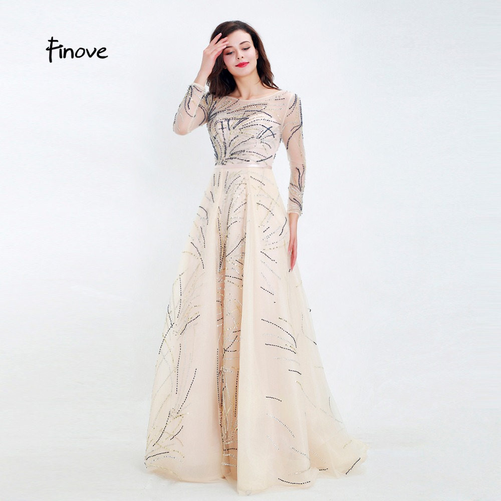 77c8bdd6c9673 Finove New Arrivals Evening Dress Long Champagne A Line Illusion Crystals  Full Sleeves Sexy V Back Woman Dress Plus Size-in Evening Dresses from  Weddings & ...
