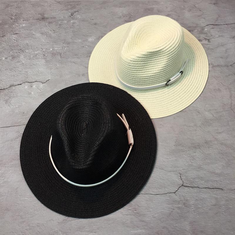 ae2c382f3564f HT1248 Estilo Ocidental Das Mulheres Dos Homens Chapéus do Sol do Verão com Cinto  Preto branco Amantes Panamá Chapéus De Palha Fedora Aba Larga Disquete ...