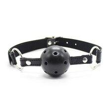 4 cm כדור עור חבל פתוח פה איסור פרסום כדור לרתום משענות משחקים ארוטיים אוראלי קיבוע פטיש BDSM Bondage מין צעצועים עבור זוגות
