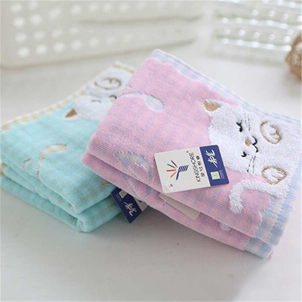 High Quality 1 Pc Cute Cotton Children Kids Towel Baby Child Super Soft Kittens High End Towel Strong Water Absorbing Towel