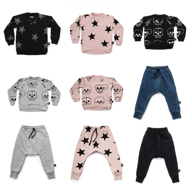 BOBOZONE 2018 Autumn winter New 5 stars Skulls sweatshirt and pants nununu for kids boys girls bobo choses