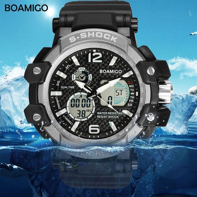 Homens esporte relógios LED relógios digitais relógio de quartzo analógico militar borracha BOAMIGO marca presente relógio de Mergulho à prova d' água reloj hombre