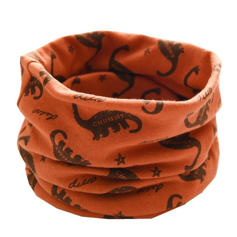 Осенне-зимний детский хлопковый плюшевый шарф, детский шарф для девочек, шарфы для мальчиков и девочек, детский воротник, детский волшебный шейный платок с круглым вырезом - Цвет: orange dinasour