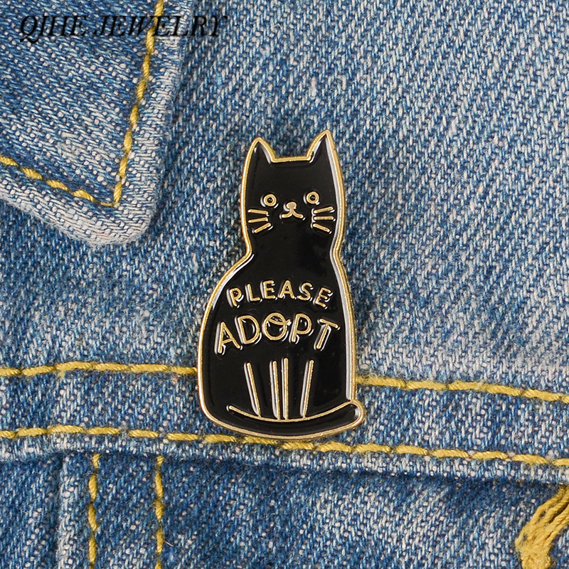 QIHE JEWELRY Adopt a cat Rescue Love Brooches Dog Cat Animal Lovers Lapel pins Adopt Your Best Friend Pins Badges image
