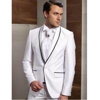 New Arrival Groom Tuxedos White Wedding Suits For Men Black Shawl Lapel Groomsman Men Wedding Suits (Jacket+Pants)