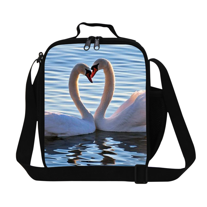 Brand New Children Heart-shaped Lunch Box Swan Print Lunch Bags For Teenager Girls Trendy Animal Kids Shoulder Thermal Food Bag