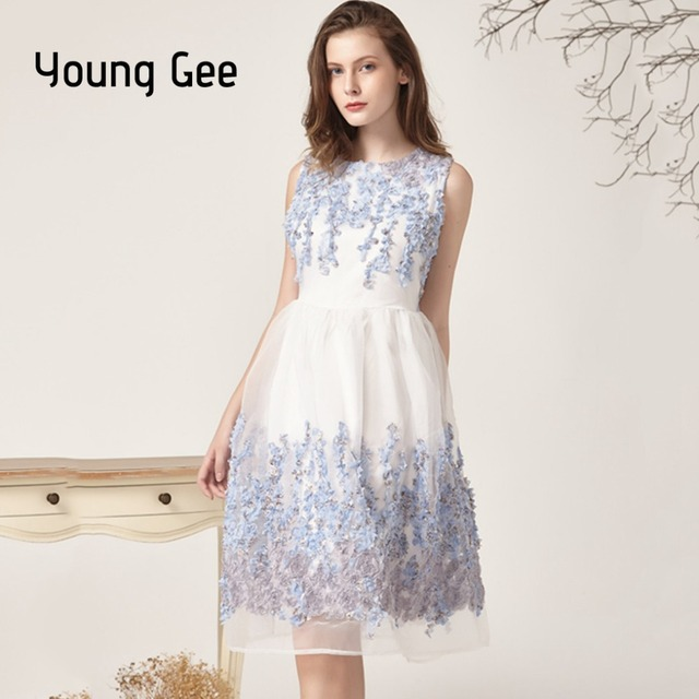 7562dcba16138 Young Gee Robe Femme Vintage Floral Lace Floral Summer Dress Women...