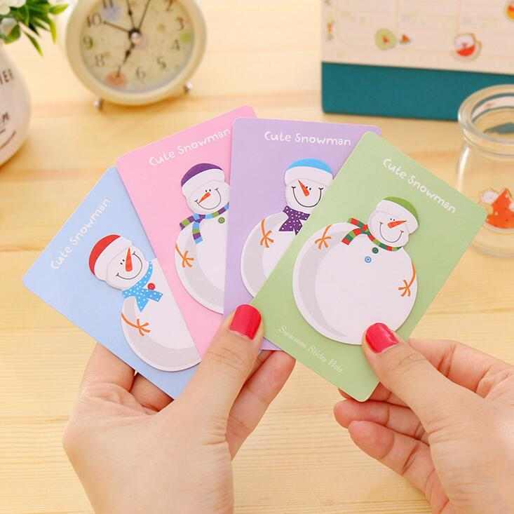 4Pcs/Lot New Cute Christmas Snowman Memo Pad Sticky Notes School Supply Bookmark Post it Label H2379