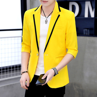 Korean Style Club Men's Blazers Jackets Short 3/4 Sleeve Coat One Button Slim Fit Coats Candy Color Casual Outwear G66
