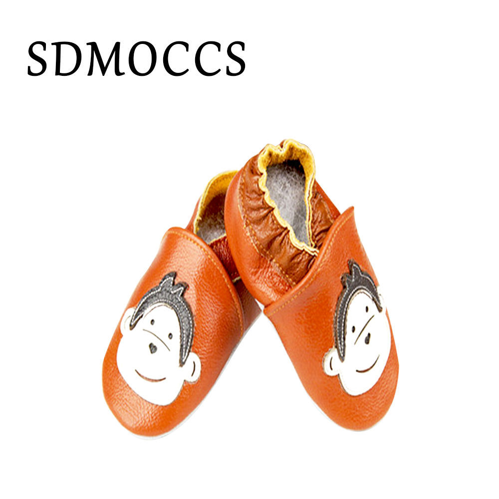 SDMOCCS Brand Animal Infant Toddler Prewalkers Baby Genuine Leather Moccasin Brown Soft Sole Baby Boy Shoes