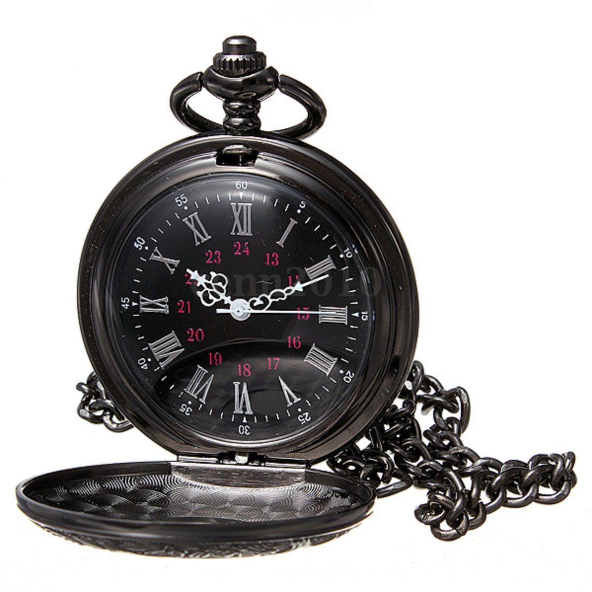 Practical Vintage Steampunk Black Roman Numerals Necklace Quartz Pendant Pocket Watch Gift