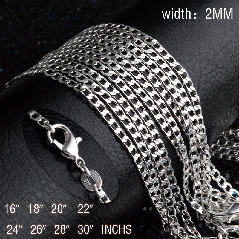 2mm Flat Pendant Chain Necklace For Women Necklaces & Pendants 925 Sterling Silver Jewelry Charms Jewellery Wholesale Gift M2