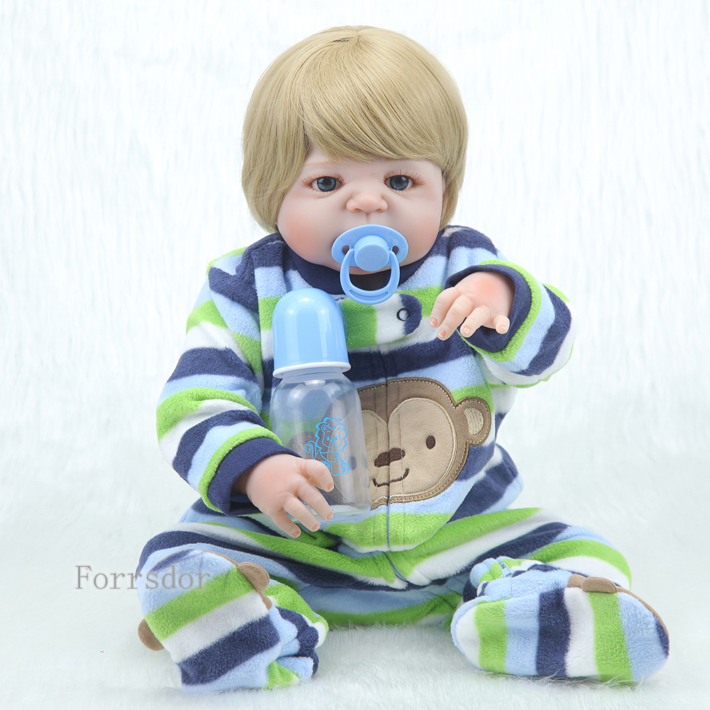 NEW 22inch  Full Silicone Reborn Baby Doll Boy Realistic Baby Dolls Soft Vinyl Fashion Dolls Children Toys Bebe Reborn