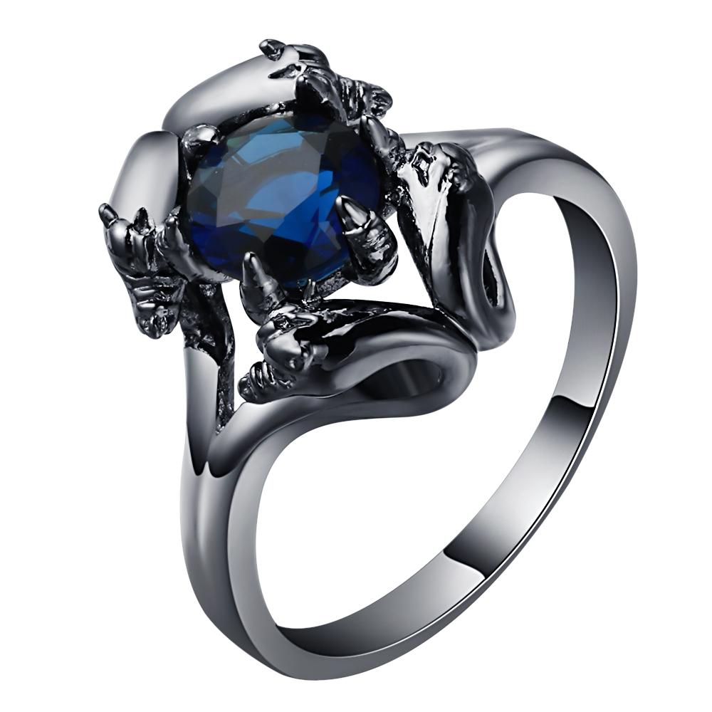 Ufooro High Quality Black Dragon Claw Rings Royal Blue Cz