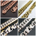 13/16mm Wide Silver Rose Gold Tone Cuban Curb Link Chain Charm Mens Stainless Steel Bracelet Or Necklace Xmas Gift Jewelry 7-40""