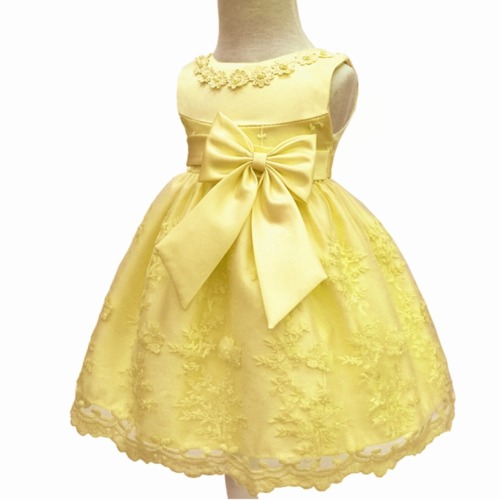 Factory Wholesale Cotton Lining Yellow Infant Dresses 2018 New Design Baby Dress For 1 -9488