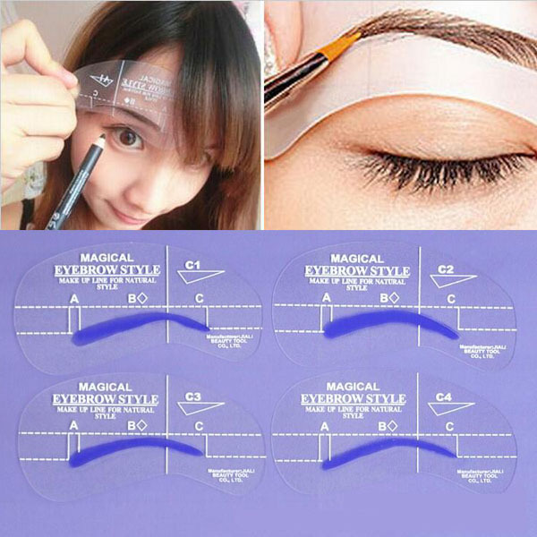 4 styles Brow Painted Eyebrow Pencil Model Template Stencil for Eye Eyebrow Styles Makeup Tools DIY Free Shipping