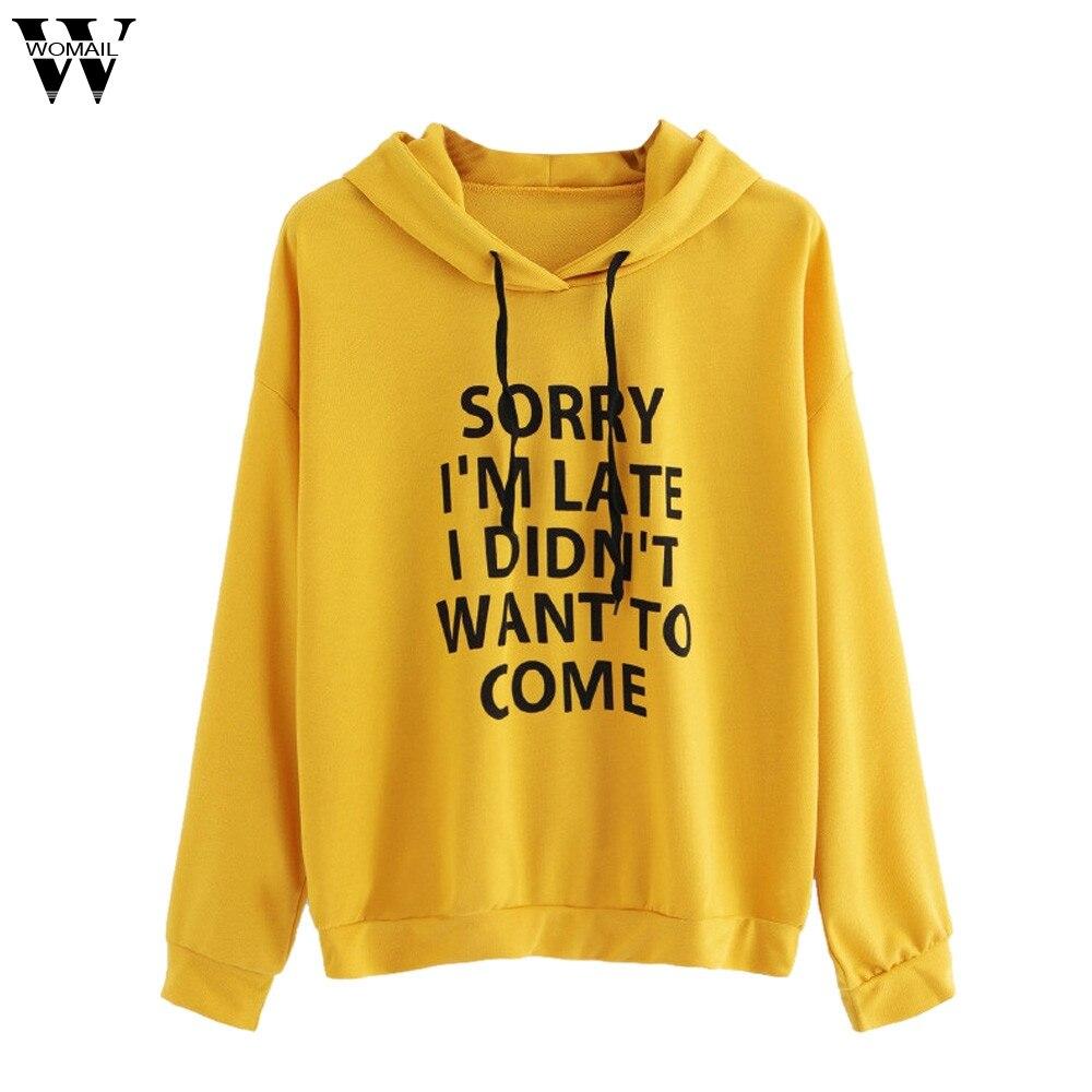 Women O-Neck Hooded Jumper Long Sleeve Letters Printed Sweatshirt Pullover Tops