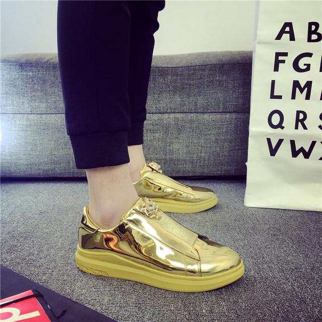 Gold Wedge Male designer Platform Shoes