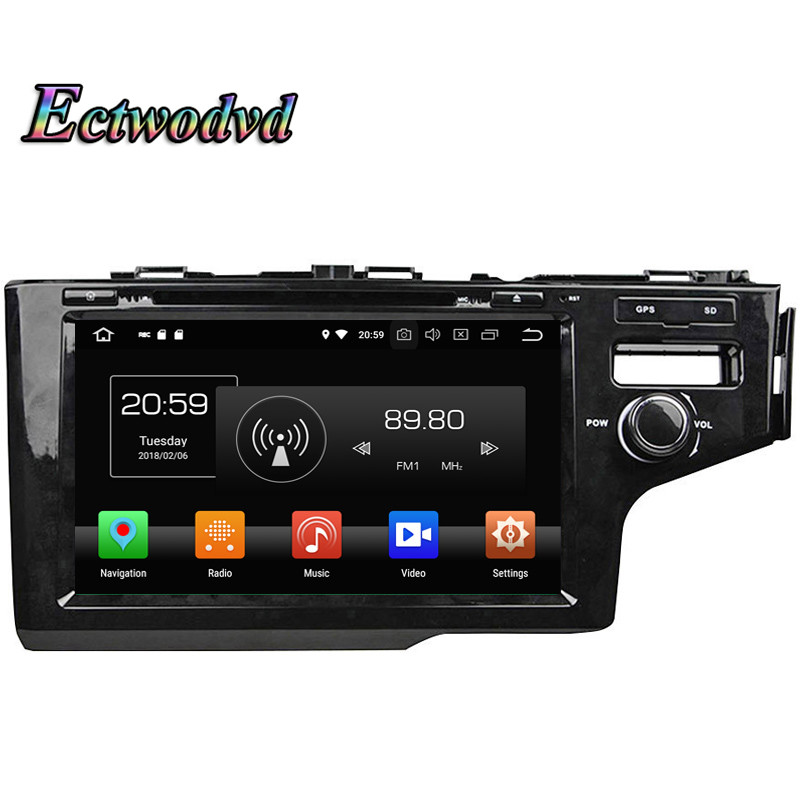 Ectwodvd Octa Core 4G Android 8.0Quad Core Android 8.1 Car Multimedia DVD Player For Honda 2014 FIT Right Radio Tapes GPS
