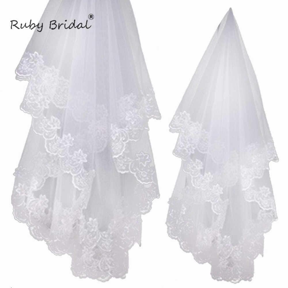 Qrtefrad באיכות גבוהה זול חתונת רעלות אביזרי חתונה קצרה לבן/שנהב שכבה אחת תחרה צעיפי כלה