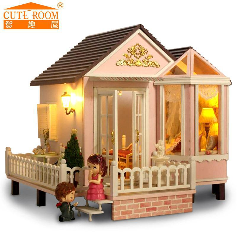 Toys & Hobbies Dolls & Stuffed Toys 3d Wooden Dollhouse Christmas Gifts Toys For Children Miniature 360 Rotating Hand-assembled Wooden Diy Doll House Low Price