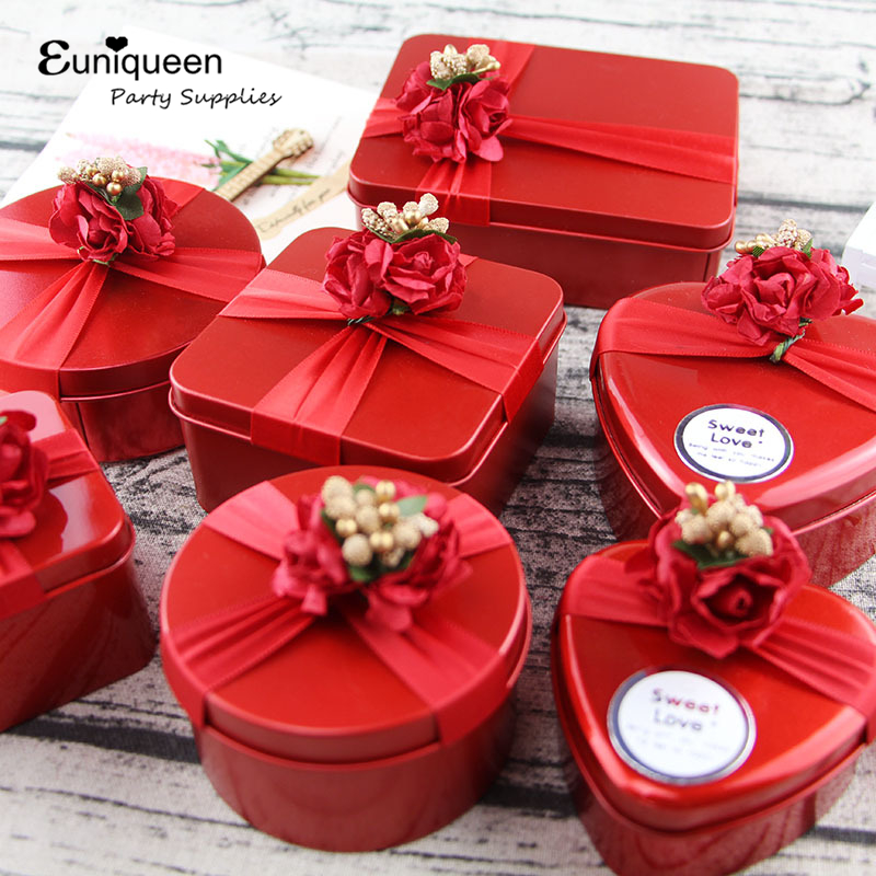 Us 2 39 1pc Red Present Pouch Metal Candy Box Wedding Favors Gift Candy Boxes Home Party Birthday Supply In Gift Bags Wrapping Supplies From Home