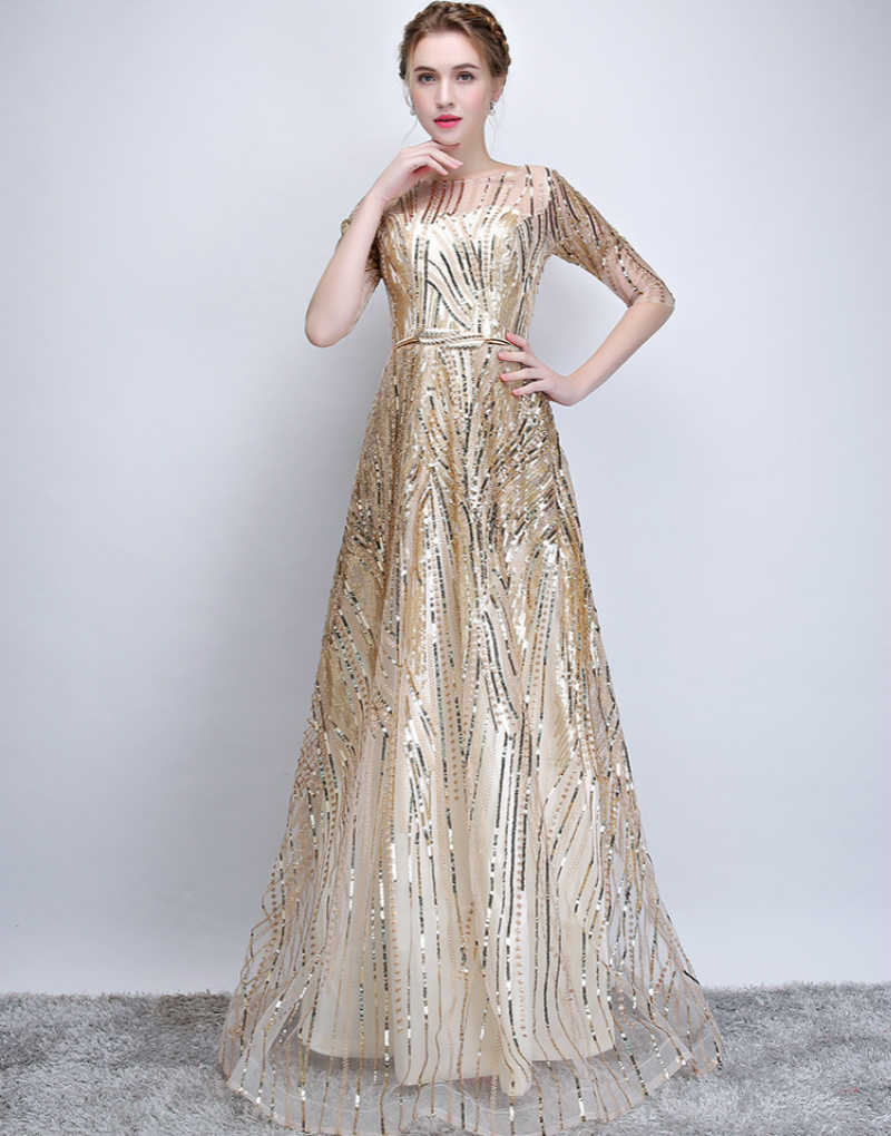 SSYFashion, новое вечернее платье для банкета, простое, элегантное, цвета шампанского, с рукавом до локтя, вечернее платье, Robe De Soiree, отражающее платье