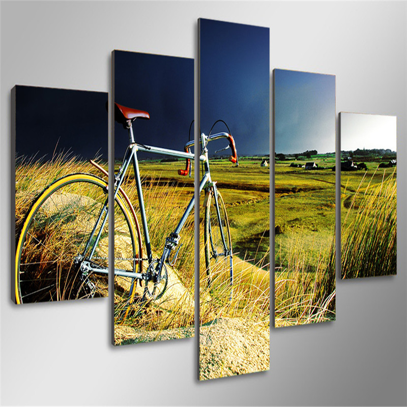 5 Pieces Grass HD Printed Painting Home Goods Wall Art Field Bike ...